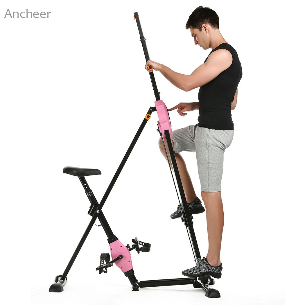 ANCHEER Vertical Climber Gym Exercise Fitness Machine Stepper Cardio Workout Training non-stick grips Legs Arms Abs Calf ancheer new x shape folding magnetic upright exercise bike with pulse fitness equipment 100kg magnetic upright exercise bike