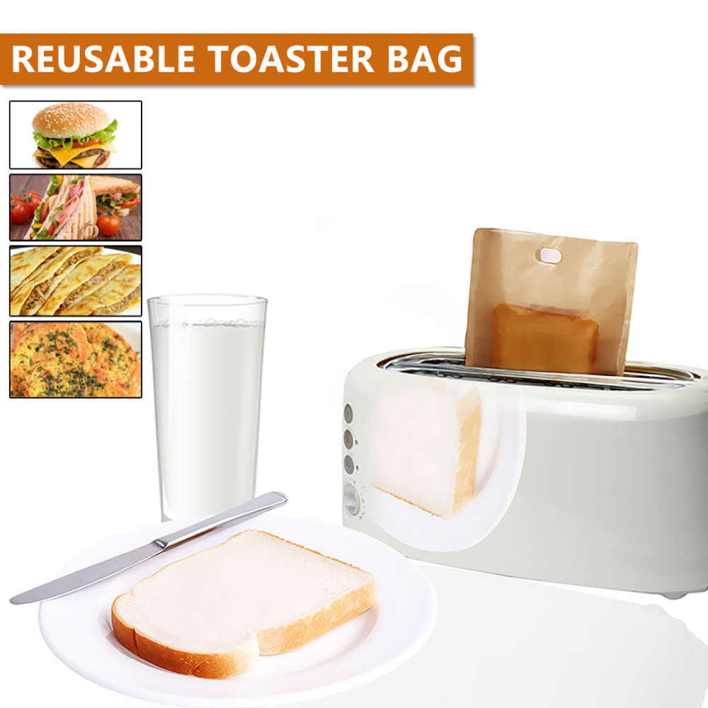 Fashion Herbruikbare Broodrooster Bag Niet Stok Brood Zak Sandwich Tassen Gecoat Glasvezel Toast Magnetron Verwarming Gebak Gereedschap