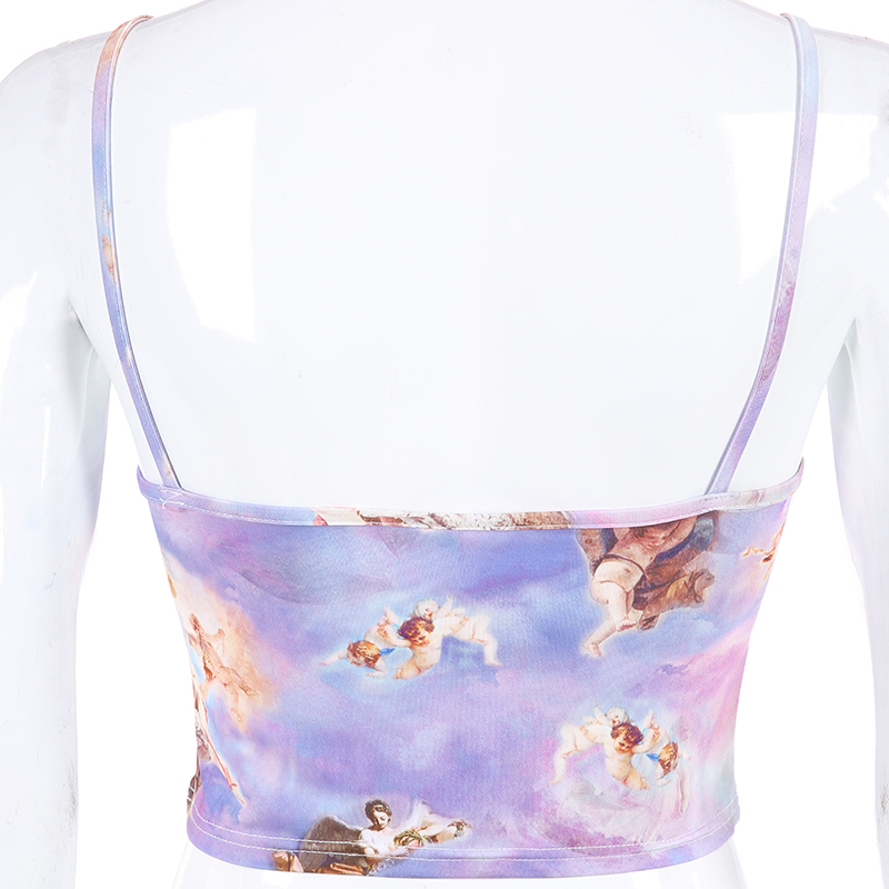 Weekeep Cropped Angel Print Camis Women Sexy Streetwear Feminino Befree Crop Top 2019 Summer Fashion Camisole
