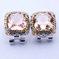 New Morganite Woman 925 Sterling Silver Crystal Earrings TE393