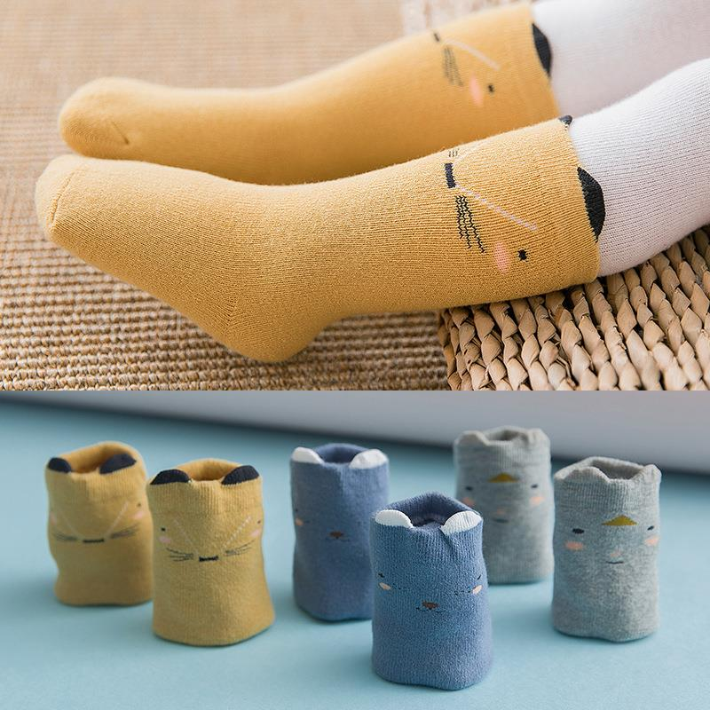 Unisex 3 Pairs Casual Vintage Knit Warm Cotton Boot Crew Socks Cute Winter Mid-calf Sock for Toddlers