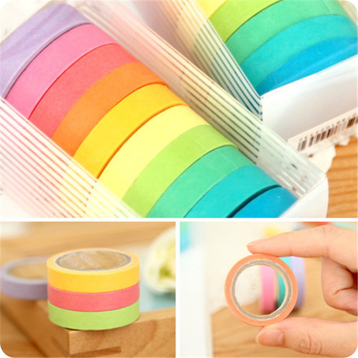 10Pcs/Lot Rainbow Roll DIY Washi Sticky Paper Tape Self Adhesive Tape Scrapbooking Masking Tape Colorful Scrapbook Tape H0089