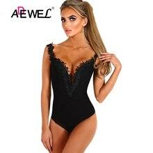 цены на ADEWEL 2019 Black Crochet Plunge Women Lace Bodysuit Sexy V neck Sleeveless Body Tops Skinny Jumpsuit Romper Female Bodysuits  в интернет-магазинах