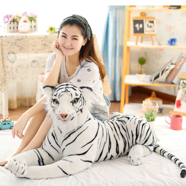simulation tiger yellow or white prone tiger large 105cm plush toy birthday gift w5489 stuffed animal 110 cm plush simulation lying tiger toy emulation yellow tiger doll great gift free shipping w400