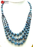 Qingmos 3 Strings Peacock Blue Stripe Agates Chokers Necklace for Women with 4 12mm Round Stone Necklace Jewelry 20 22 Ne5694