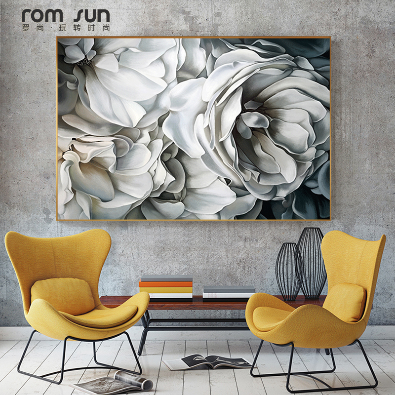HD Nordic Großen Weißen Rose Leinwand Malerei Wand Kunst ...