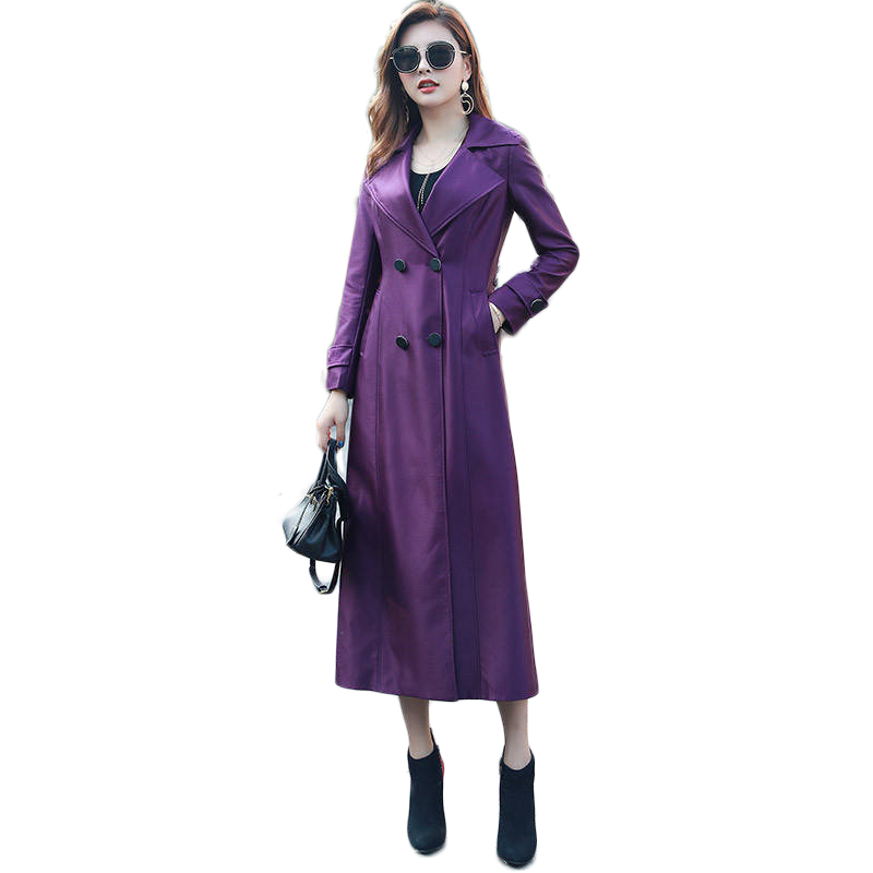 2019 Spring Autumn New Women Casual Double Breasted Simple Classic X-Long   Trench   Coat Female Belt Windbreaker Plus Size 5XL M38