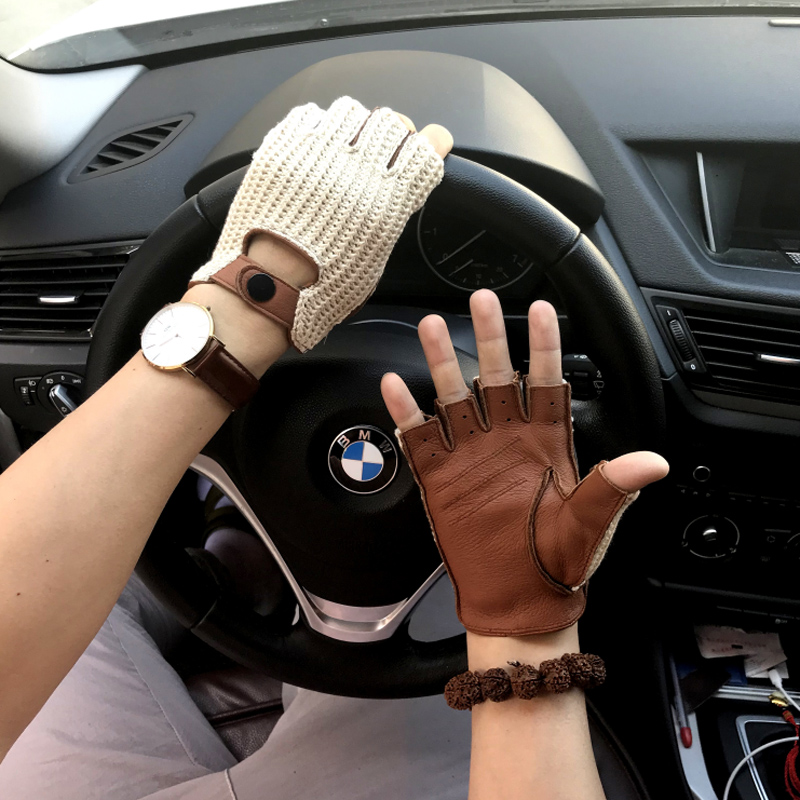 NEW Mens Genuine Leather Gloves Knitted Leather Gloves Male Breathable Unlined Non-slip Driving Gloves Mitten Men Leather Gloves