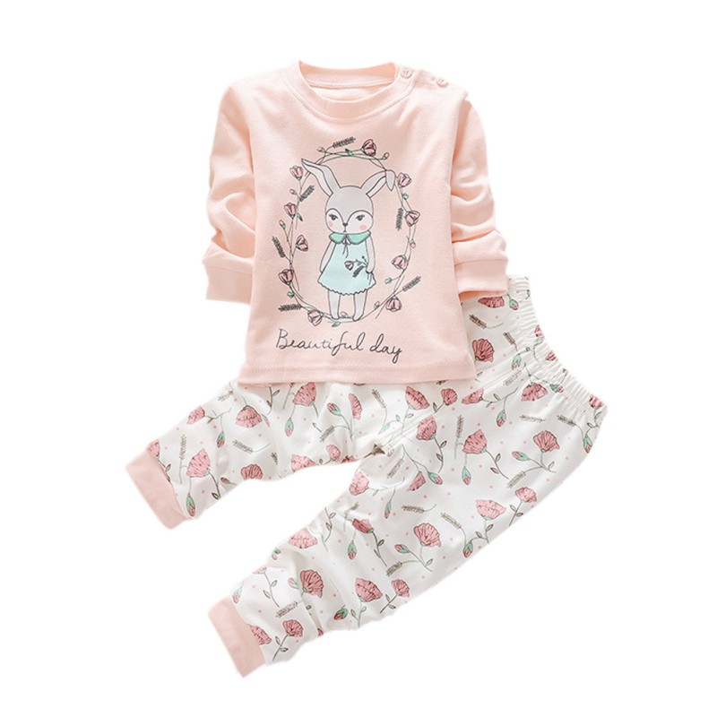 2017 Girls Clothes Baby Girl Clothing Set Children Flower Bow Cute Suit 2PCS Kids Twinset Top T Shirt +Plaid Pants Leggings ...