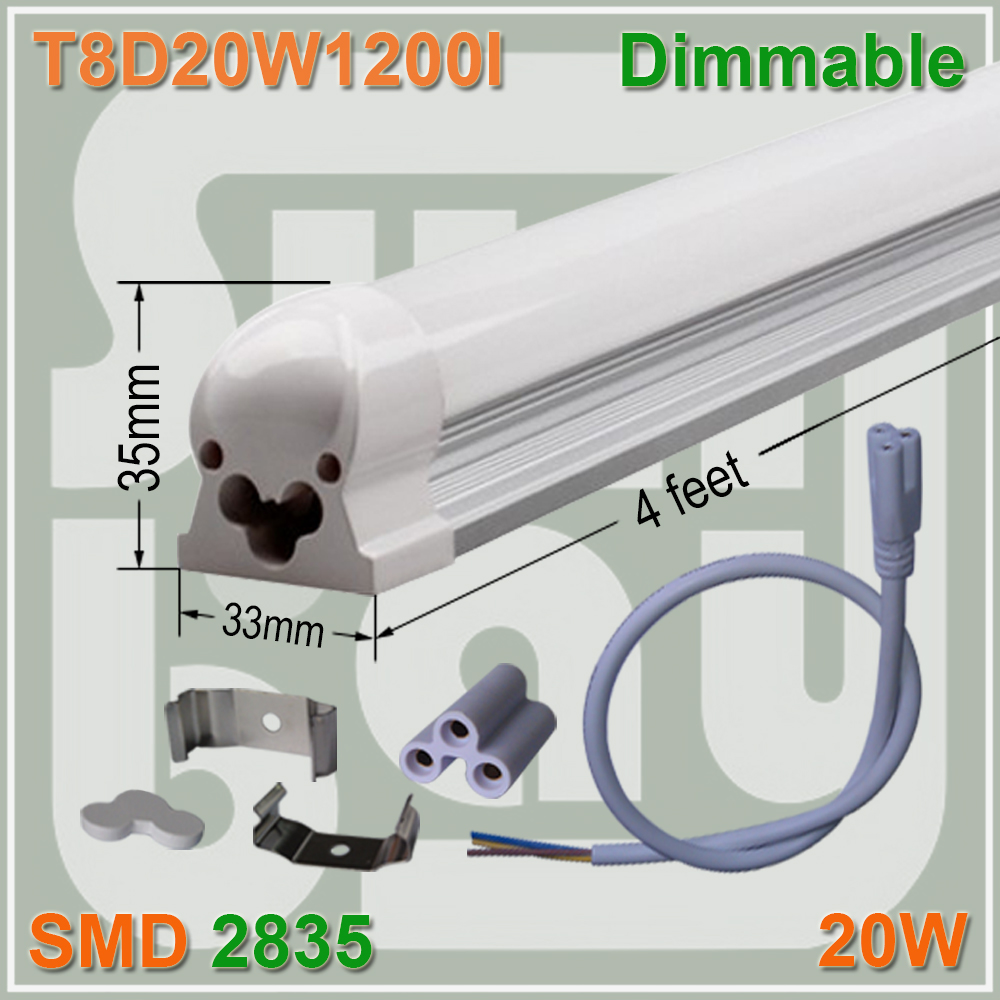 Dimmable LED Integrate Tube T8 Light Bulb 4FT 20W Surface Mounted With Accessory 4 pack free shipping t5 integrated led tube 4ft 20w milky transparent cover surface mounted bulb comes with accessory 85 277v