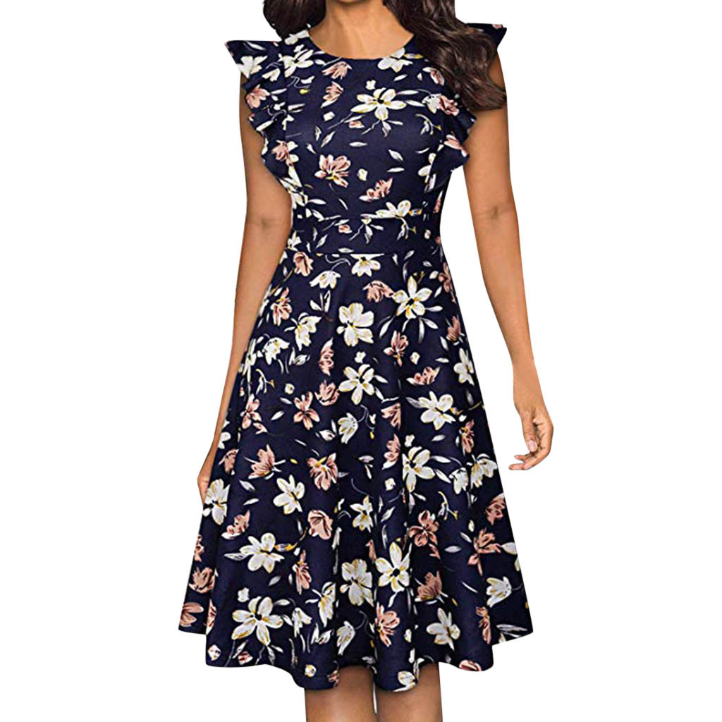 Summer Dresses for Women Casual Short Sleeve Printing Vintage Gown Long Culb Evening Party Dress