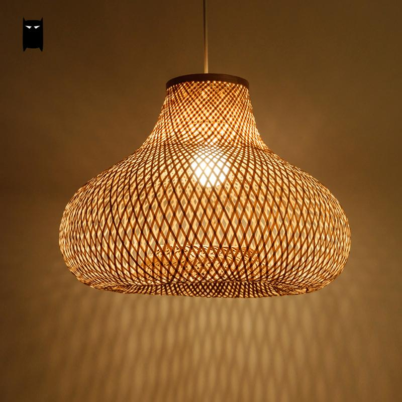 40cm hand bamboo wicker rattan gourd shade pendant light fixture asian country suspension for Lampe de bambou avignon