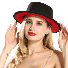 2019 Fashion Baru Hitam Merah Patchwork Wol Merasa Trilby Flat Top Fedora  Topi untuk Wanita Pria Biasa Bowler Topi Fascinator to. e587b85793