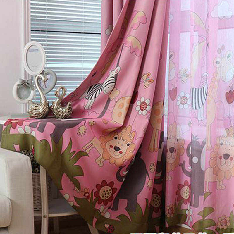 Cartoon Forest Window Blackout Pink Curtains For Living Room Kid Girl Boy Bedroom Tulle Curtains  Bedroom Blinds Fabric P332&3