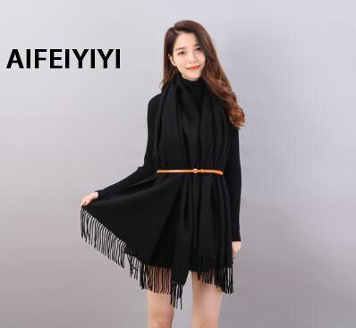Star with a solid color shawl thick wool warm scarf ladies fashion fringe shawl