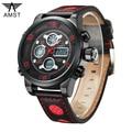 AMST 3020 Brand Luxury Men Swimming Digital LED Quartz Outdoor Sports Watches Military Relogio Masculino Clock Leather Strap