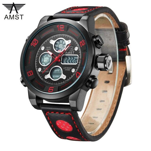 b48181a8eac AMST 3020 Marca de Luxo Homens de Natação Digital LED Relógios Militar  Relogio masculino Pulseira De