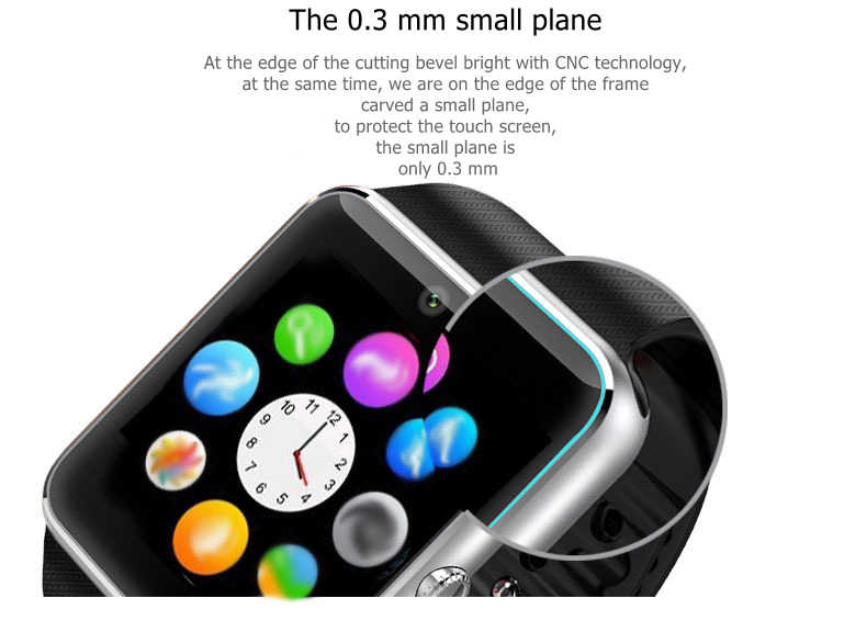 GT08 Smart Watch Bluetooth Men With Touch Screen Smartwatch Big Battery Support TF Sim Card Camera For IOS iPhone Android Phone