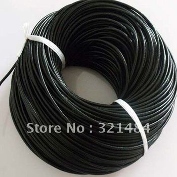 Hotsale!!! 3mm 100meter #8 Black color (more color can pick up) Jewelry real guniune round leather cord rope and string
