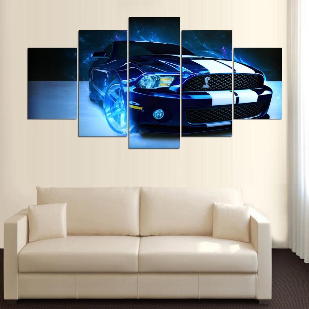 US $4.83 40% di SCONTO|Dipinto Su Tela 5 Panel Cool Car Decorazione Della  Casa Decorazione Paesaggio Modulare Cornice Quadri Moderni Parete Per ...