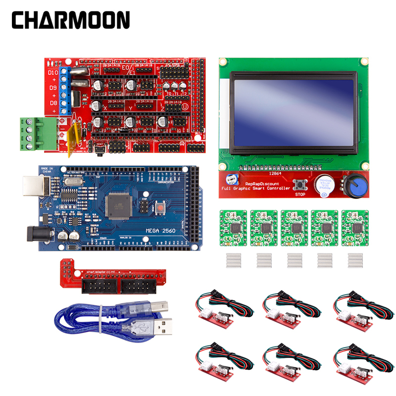 3D Printer Kit For Arduino Mega 2560 R3 + RAMPS 1.4 Controller + LCD 12864 + 6 Limit Switch Endstop + 5 A4988 Stepper Driver New