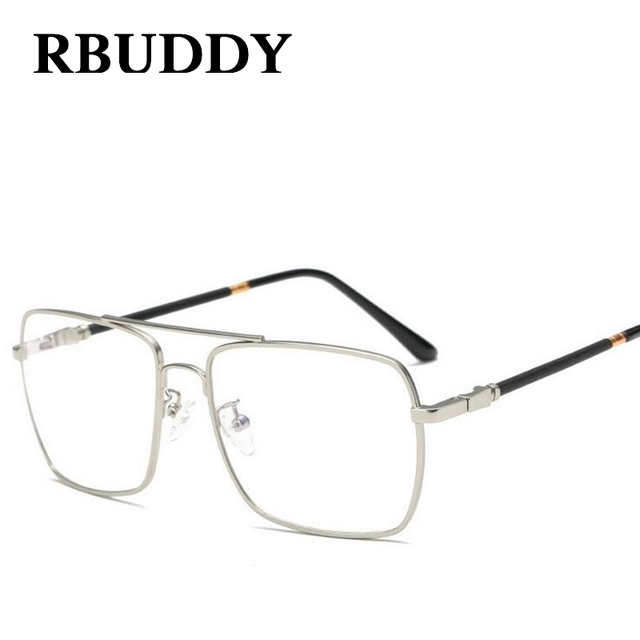 3f255878d7d RBUDDY Square Clear Glasses Men women Fashion Glasses frame Metal big clear  lens glasses transparent optical computer glasses