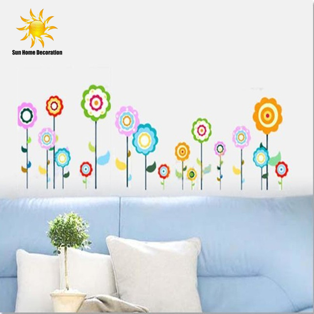 Color Flower Children'S Room Wall Stickers Parlor Bedroom Lollipop