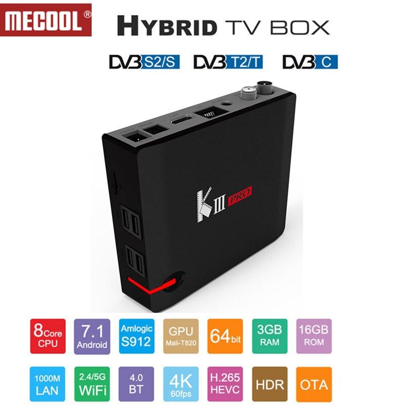 MECOOL KIII PRO DVB-S2 DVB-T2 DVB-C Android 7 1 IPTV Box 3GB 16GB Amlogic  S912 Octa Core 4K Combo CCCAM NEWCAMD Biss key PowerVU