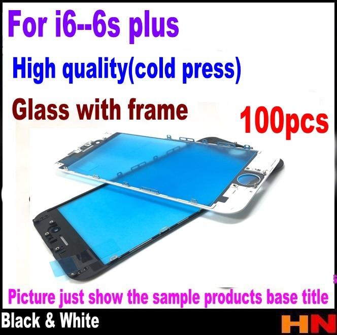 imágenes para 100 unids para iphone 6 6 plus 6 s 6 s plus 2 en 1 Pieza de Reparación de la Lente de La Pantalla Táctil con el conjunto de marco blanco/negro medio frío prensa