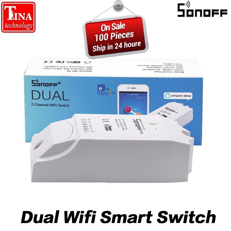 Sonoff Dual 2CH Wifi Smart Switch Home Remote Control Wireless Switch Universal Module Timer Wi-fi Switch Smart Home Controller