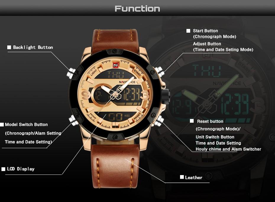 Top Luxury Brand NAVIFORCE Men Sport Watches Men's Quartz LED Analog Clock Man Military Waterproof Wrist Watch relogio masculino 2