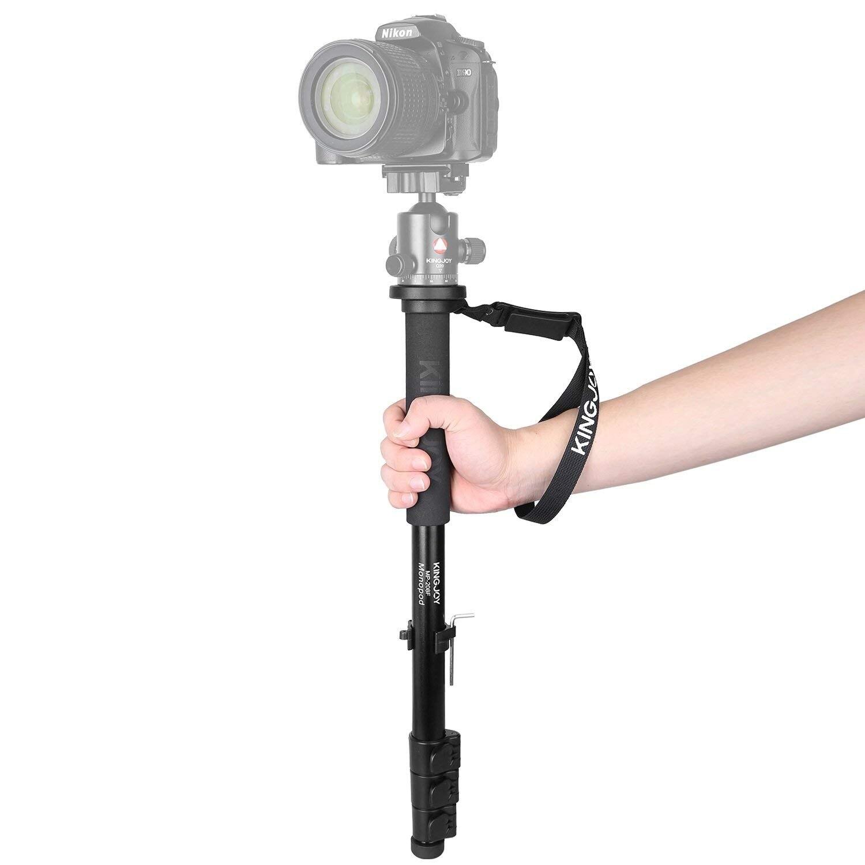 KINGJOY MP208F Caméra Manfrotto Alpenstock, 52 pouce/133 cm En Aluminium Flip Serrure Monopode avec 1/4 pouces et 3/8 pouces Convertible Vis