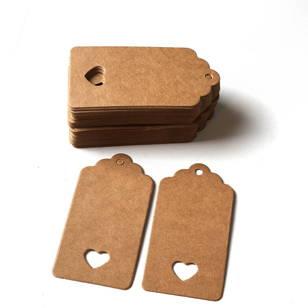 20PCs 10x5cm Brown Paper Label Tags Home DIY Tools Rectangle heart shape hollow Garment accessory Tags Bags Shoes Tag