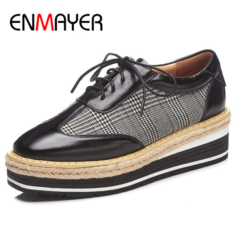 ENMAYER Platform Shoes Woman High Heels Pumps Round Toe Lace-up Size 39 Wedges Shoes for Women Cross-ties xiaying smile woman pumps shoes women spring autumn wedges heels british style classics round toe lace up thick sole women shoes