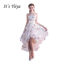 Its YiiYa Strapless Pleat Lace Up High-low Asymmetry Vintage Elegant Flowers Taffeta Prom Gown Dancing Party Dresses LX018