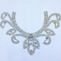Best Quality Sewing Rhinestone Applique Patch For Wedding 23cm Silver Base Crystal Clear Color Mosaic AAA