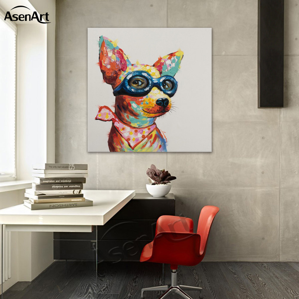 FRIENDS IN THE DOG HOUSE PET PUPPY DOGS ART PAINTING PRINT ON REAL CANVAS