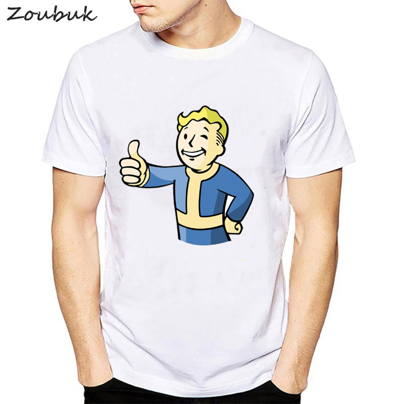 New Summer Fallout 111 Vault Boy White   T     shirts   Men Short Sleeve Cotton   T  -  shirt   Nuka Cola Victory Tee Size S-XXL