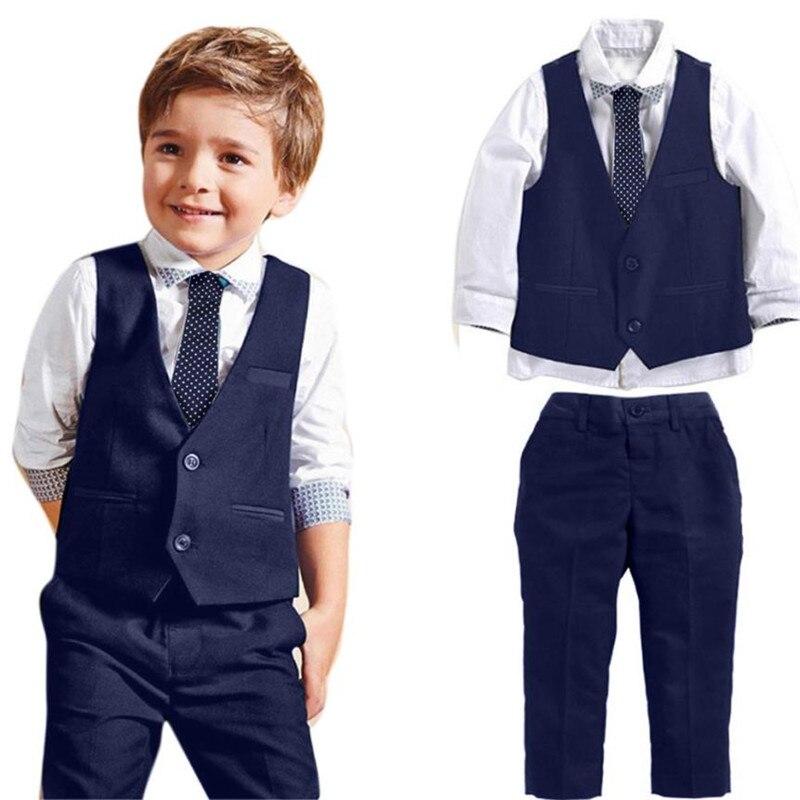 4PC Kids boys wedding clothes Gentleman Wedding Suits Shirts+Waistcoat+Long Pants+Tie Baby boy clothes Set Roupas menino