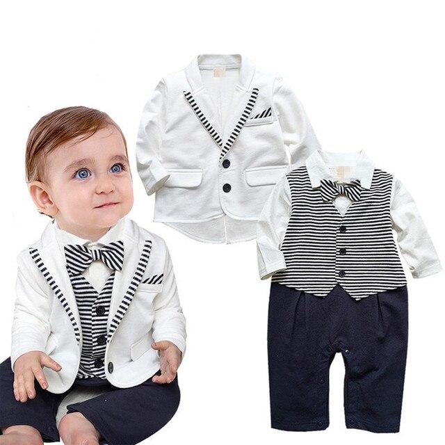 Джентльмен Ребенок Устанавливает Мальчиков Одежда Пальто + Комбинезон Комплект Одежды Черный Белый Полосатый Новорожденный Свадьба Костюм V30