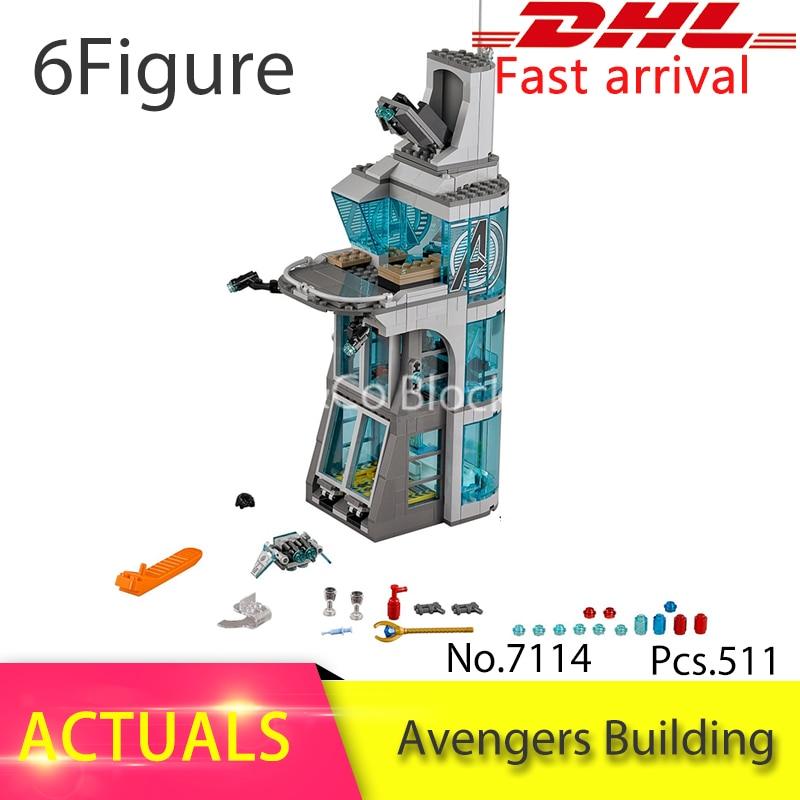 HOT Attack on Avengers Tower 76038 Building Blocks Model Toys For Children 7114 Compatible Bricks Super Heroes Figure