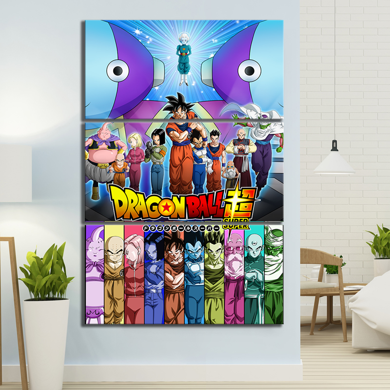 3 Piece Anime Movie Posters Universe Survival Dragon Ball Super Animation Art Canvas Paintings for Home Decor 2