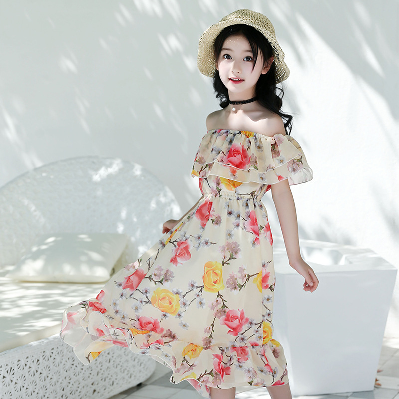 2018 New Girls Dress Beach Bohemian Summer Childrens Dresses Floral Princess Party Dress for Girl Vestidos 4 6 8 10 12 13 Years