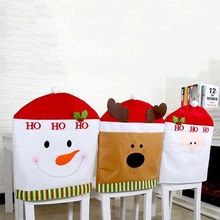 1pcs Santa Claus Snowman Elk Cap Chair Cover Christmas Dinner Table Party Red Hat Back