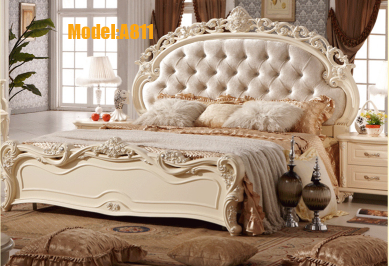 Free shipping white royal wood carving princess design two for Princess style bedroom furniture