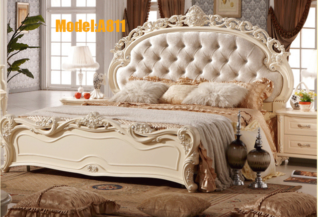 US $1800.0 |Free shipping white royal wood carving princess design TWO BEDS  bedroom set furniture from china for adults-in Bedroom Sets from Furniture  ...