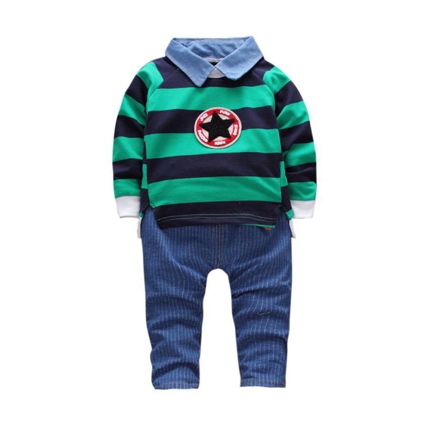 Новый dropship милые модные для маленьких детей Одежда для маленьких мальчиков полосатые пуловеры футболка Комплект одежды: Топ и штаны H35 SEP18