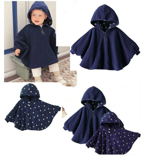 New Baby Clothes Child Cloak Double Faced Baby Kids Toddler Double-side Wear Hooded  Baby Girl's Cute Flower Coat