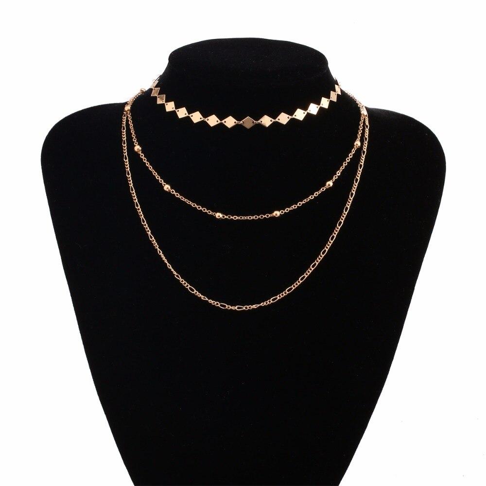 Мода подарок слоя три красивый золотой Цвет Colar колье Цепочки и ожерелья для замечательный 2017, женская обувь себе NR4086