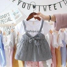 Летняя одежда для маленьких девочек От 0 до 3 лет Повседневное для Платье для новорожденных девочек в клетку с фальш-вставкой, вечерние платье на день рождения для девочек